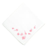 Embroidered Pink Clover Handkerchief
