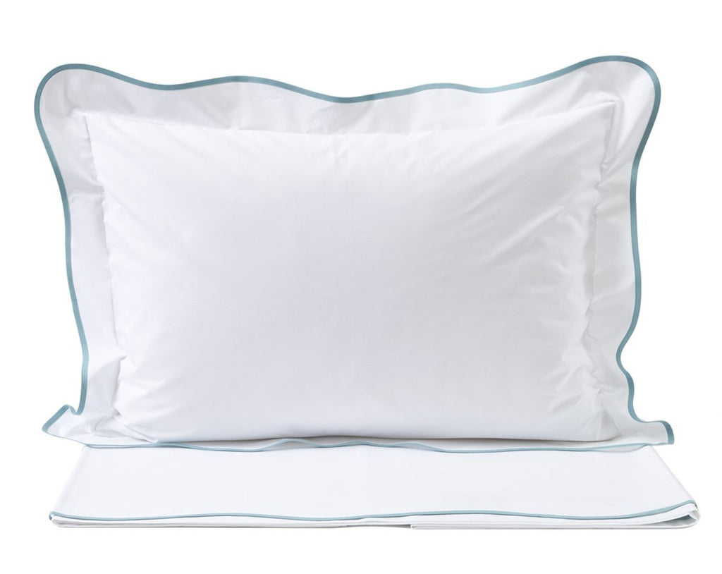 Solid White with DP Blue #5503 Bed Linens