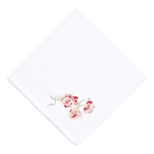 Pois de Senteur pink Embroidered Handkerchief