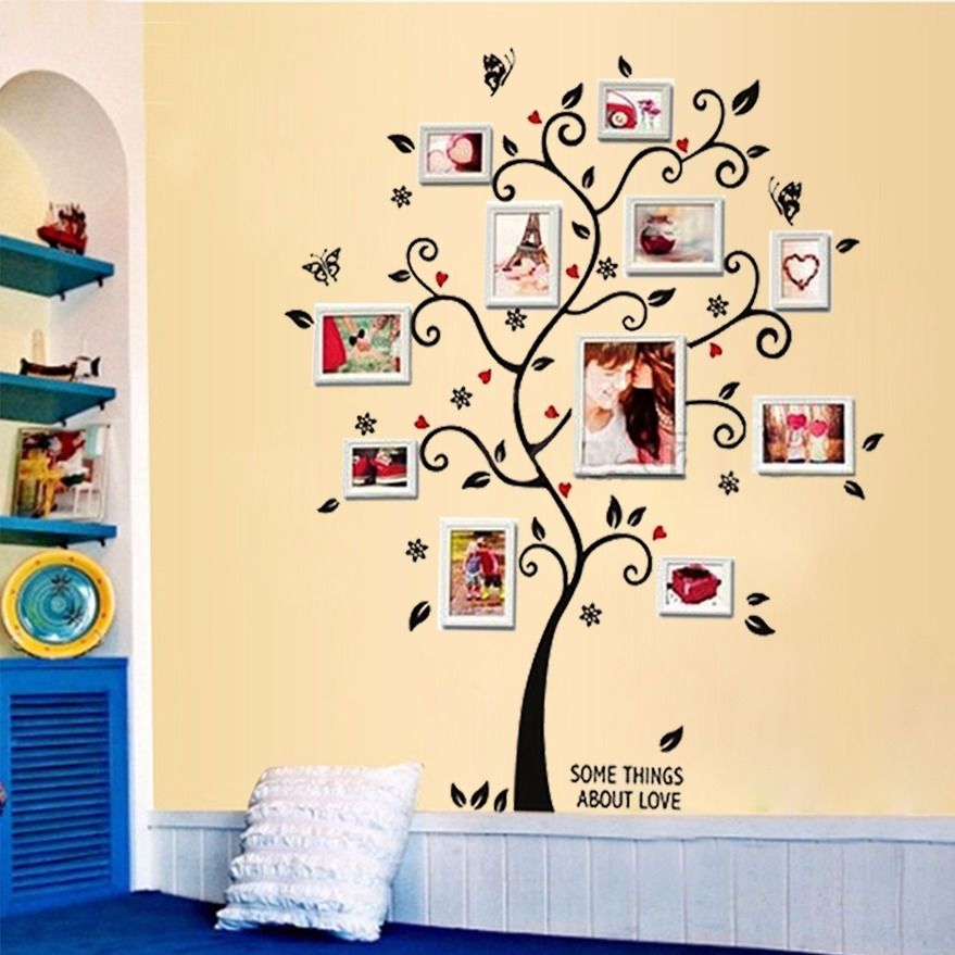 3D Family Photo Frame Tree Wall Sticker 100*120CM for Home Decoration