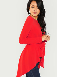 Women's Red Belted Hi-Lo Long Sleeve Blouse
