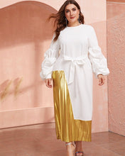 Load image into Gallery viewer, All White Party, White and Gold Maxi Dress