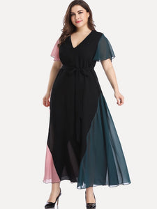 Plus Size Color Block Cut And Sew Panel V-neck Belted Maxi Dress
