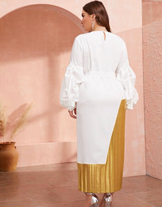 All White Party, White and Gold Maxi Dress
