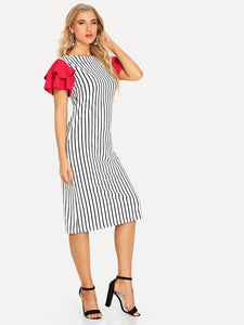 Women's Glow Crazy Stripe Dress with Neon Ruffle Sleeves