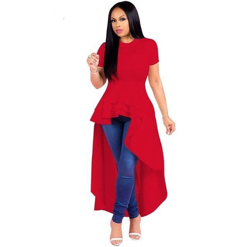 Women Peplum Ruffle Short Sleeve Shirt Dress