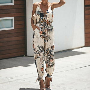 Women's Sleeveless Jumpsuit Floral Loose Long Pants - No Stretch