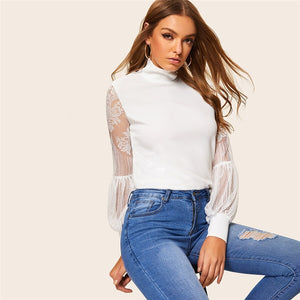High Neck Lace Lantern Sleeve Long Sleeve Blouse