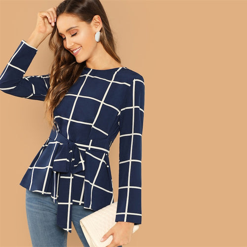 Navy Self Belted Grid Round Neck Long Sleeve Plaid Pullovers Top Plain Blouse