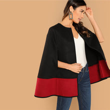 Load image into Gallery viewer, Black and Red Round Neck Two Tone Open Front Cloak Sleeve Cape Outerwear
