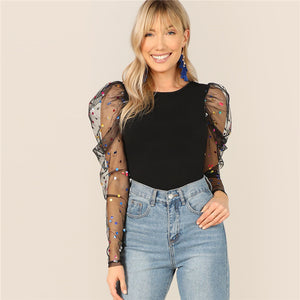 Black Colorful Dot Puff Shoulder Mesh Sleeve Blouse Confetti
