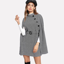 Load image into Gallery viewer, Coat Cloak Sleeve Self Belted Houndstooth Cape Coat