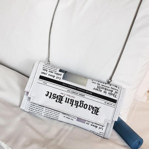 Newspaper Print Design Crossbody Messenger Bags Flap Envelope Clutches Purse Chain Bag