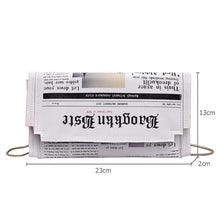 Load image into Gallery viewer, Newspaper Print Design Crossbody Messenger Bags Flap Envelope Clutches Purse Chain Bag