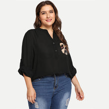 Load image into Gallery viewer, Black Leopard Print Pocket Long Sleeve Plus Size Blouse