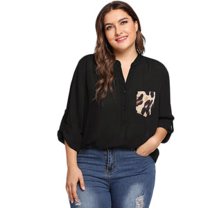 Black Leopard Print Pocket Long Sleeve Plus Size Blouse