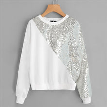 Load image into Gallery viewer, White Plus Size Drop Shoulder Preppy Style Asymmetrical Sequin Panel Sweatshirt Long Sleeve Casual Pullovers