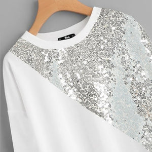 White Plus Size Drop Shoulder Preppy Style Asymmetrical Sequin Panel Sweatshirt Long Sleeve Casual Pullovers