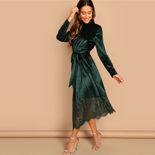 Green Waist Belted Mock-Neck Velvet Long Sleeve Dress