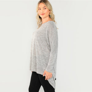 Plus Size Long Sleeve Grey Bow Back High Low Heathered Knit Top