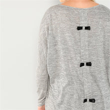 Load image into Gallery viewer, Plus Size Long Sleeve Grey Bow Back High Low Heathered Knit Top