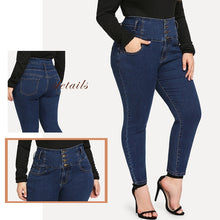 Load image into Gallery viewer, Plus Size Skinny Double Pocket Jeans Solid Stretchy Pants