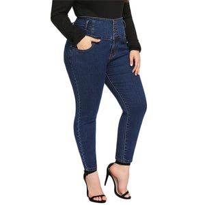 Plus Size Skinny Double Pocket Jeans Solid Stretchy Pants