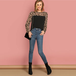 Long Sleeve Semi Sheer Leopard Yoke Top Blouse