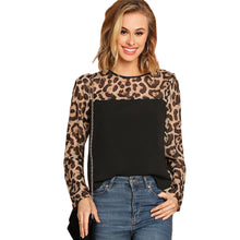 Load image into Gallery viewer, Long Sleeve Semi Sheer Leopard Yoke Top Blouse