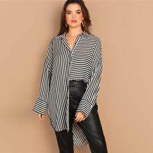 Load image into Gallery viewer, Plus Size Drop Shoulder Black and White Stripe Long Shirt