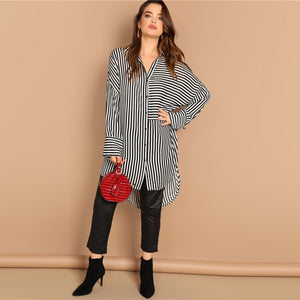 Plus Size Drop Shoulder Black and White Stripe Long Shirt