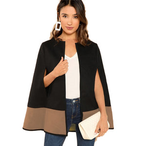Open Front Cloak Sleeve Cape Plain Solid Coat Women Modern Lady Streetwear Cape Coats
