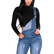 Load image into Gallery viewer, Women's Denim Overalls Ripped Stretch Plus Size Jumpsuit