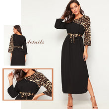 Load image into Gallery viewer, Leopard Print Patchwork Straight Long Sleeve Belted Dress