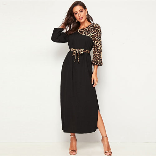 Leopard Print Patchwork Straight Long Sleeve Belted Dress