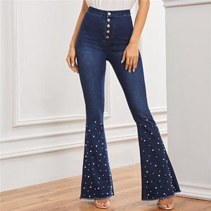 Pearls Beaded Pocket Frayed Edge High Waist Flare Leg Denim Pants