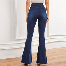 Load image into Gallery viewer, Pearls Beaded Pocket Frayed Edge High Waist Flare Leg Denim Pants