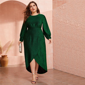 Plus Size Green Lantern Sleeve Wrap Dip Hem Glitter Maxi Dress Women Autumn High Waist A Line Party Glamorous Dresses