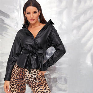 Black Single Breasted Belted Faux Leather Jacket Shirt