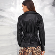 Load image into Gallery viewer, Black Single Breasted Belted Faux Leather Jacket Shirt