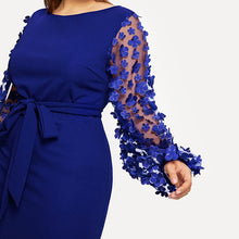 Load image into Gallery viewer, Plus Size Appliques Mesh Sleeve Belted Pencil Dress