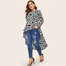 Load image into Gallery viewer, Plus Size Leopard Print BlouseAsymmetrical Dip Hem Blouse Top
