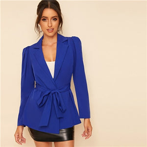 Blue Notch Collar Puff Sleeve Self Belted Solid Blazer