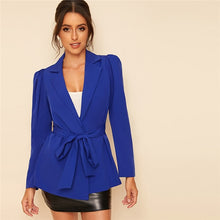 Load image into Gallery viewer, Blue Notch Collar Puff Sleeve Self Belted Solid Blazer