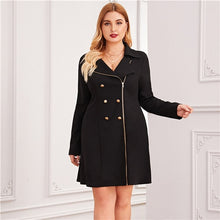 Load image into Gallery viewer, Plus Size Black Zipper Front Double Button Blazer Dress Women Autumn Lapel Collar A Line Elegant Plus Mini Dresses