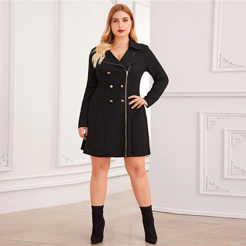 Plus Size Black Zipper Front Double Button Blazer Dress Women Autumn Lapel Collar A Line Elegant Plus Mini Dresses