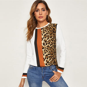 Leopard Print Colorblock Trim Tee Tops Ladies Long Sleeve White Top
