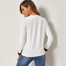 Load image into Gallery viewer, Leopard Print Colorblock Trim Tee Tops Ladies Long Sleeve White Top