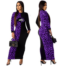 Load image into Gallery viewer, Leopard Mouth Print bodycon Long Sleeve midi maxi dress