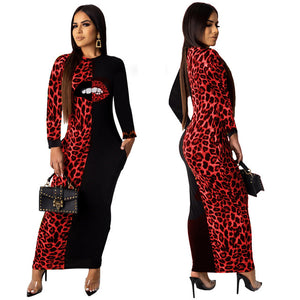 Leopard Mouth Print bodycon Long Sleeve midi maxi dress